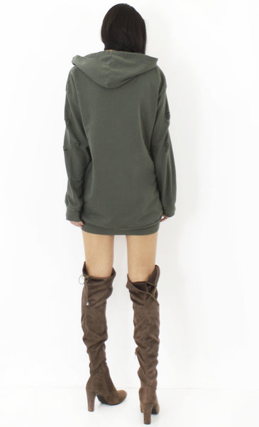 Distressed Hoodie Dress