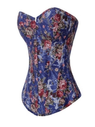 Beauty Floral Denim Corset Blue