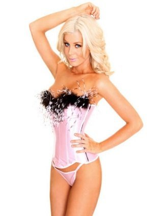 Elegant Feathered Pink Corset