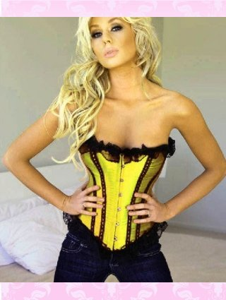 Lace Up Corset with Metal Boning Golden