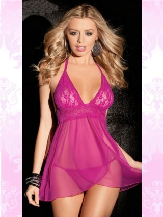 I Love Pink Halter Front Baby Doll