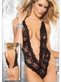 Deep V Teddy with Back Chain String