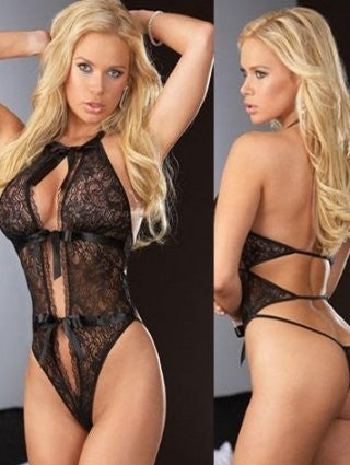 Lace Teddy with Satin Ties