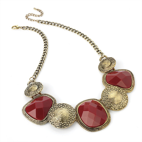 Antique Gold With Red Necklace