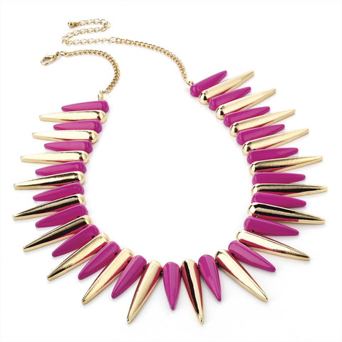 Gold & Fuchsia Spike Necklace