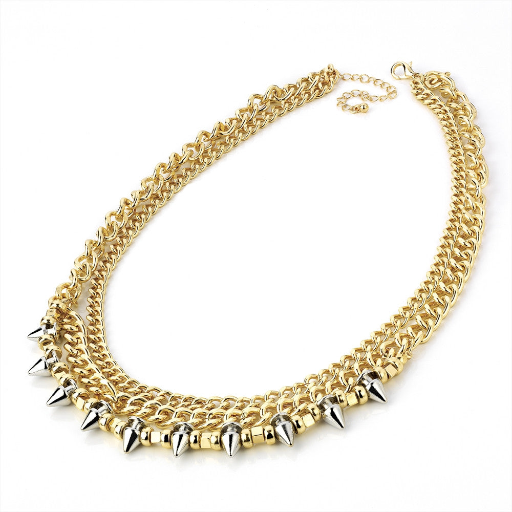 Three Row Gold Necklace