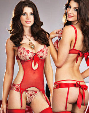 Red Mesh Teddy with Garters