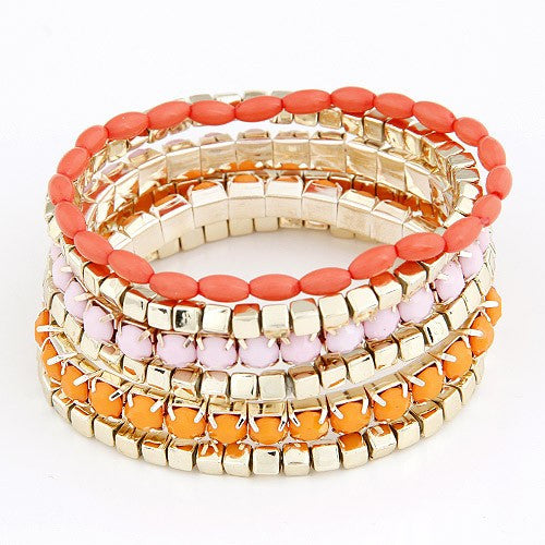 Colorful Bracelet - Pink & Orange