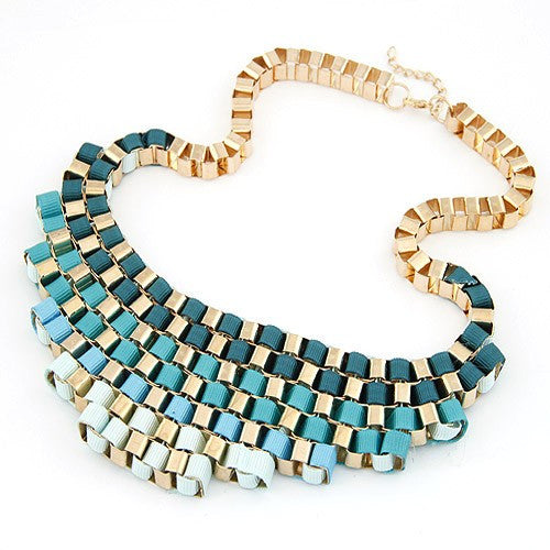 Metallic Bold Necklace - Sky Blue