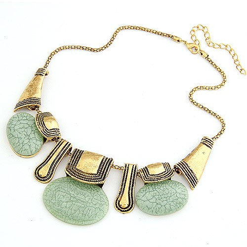 Vintage Golden Metallic with Triple Gems Necklace - Light Green
