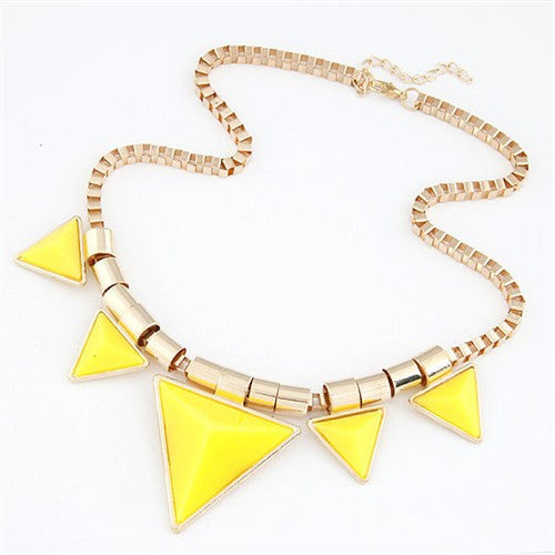 Fashionable Yellow Triangles Necklace