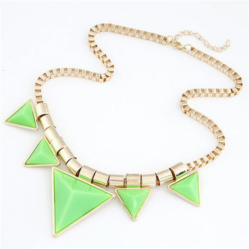Fashionable Green Triangles Necklace