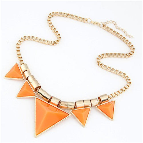 Fashionable Orange Triangles Necklace