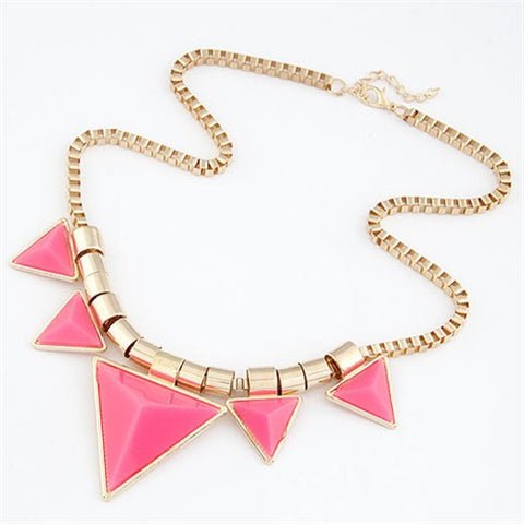 Fashionable Pink Triangles Necklace