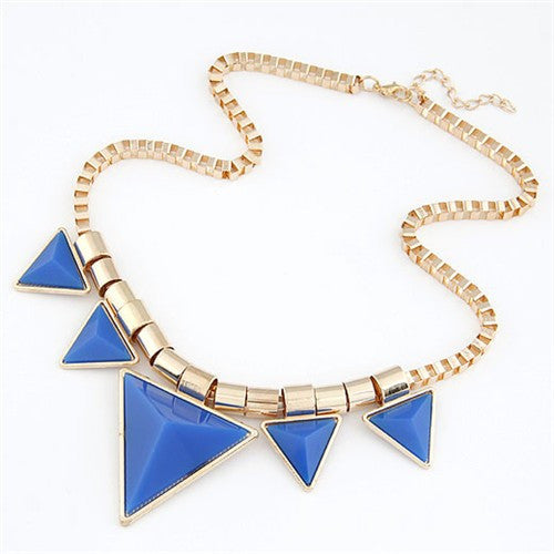 Fashionable Blue Triangles Necklace