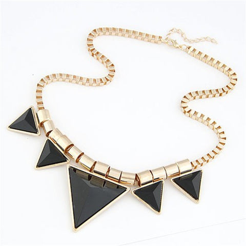 Fashionable Black Triangles Necklace