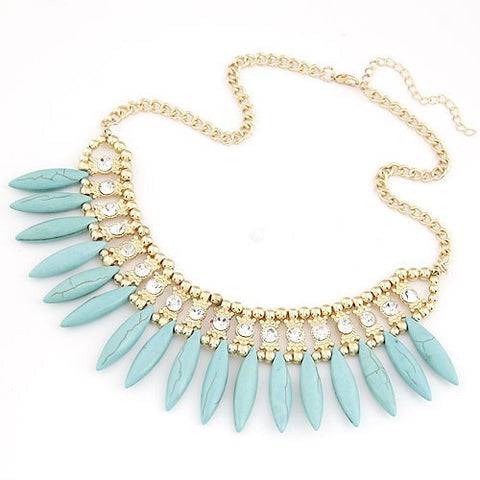 Droplets Turquoise Necklace - Light Blue