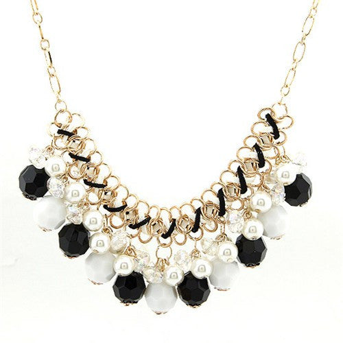 Handmade Pearl Pendants Necklace - Black