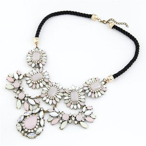 Assorted Floral and Waterdrop Gem Necklace