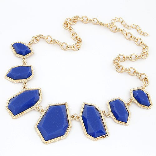 Golden Rimmed Gem Necklace - Blue