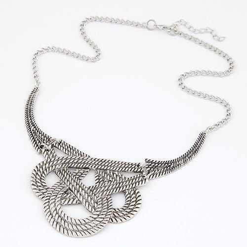 Simple Twined Design Alloy Necklace - Vintage Silver