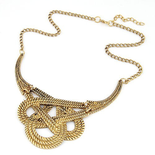 Simple Twined Design Alloy Necklace - Vintage Copper