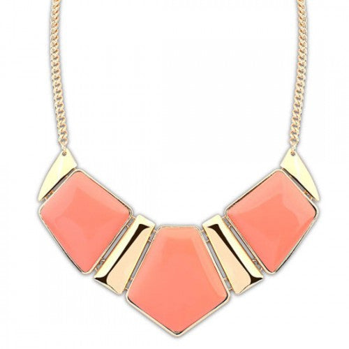 Bold Triple Gems Combo Design Necklace - Peach Pink
