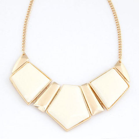 Bold Triple Gems Combo Design Necklace - White