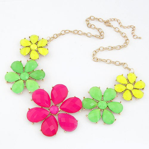 Assorted Fluorescent Colour Flowers Necklace