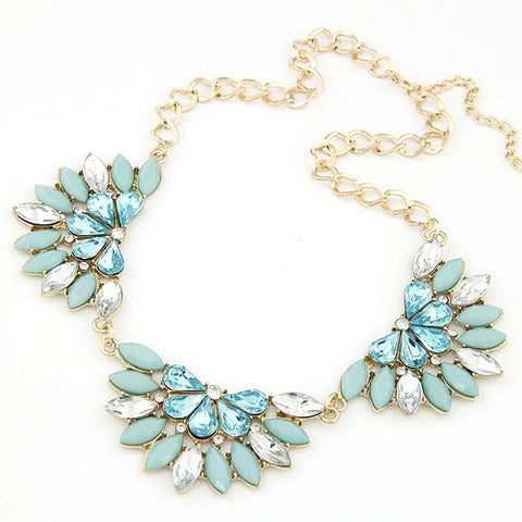 Gems Combo Triple Petals Necklace - Blue
