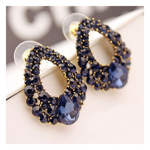 Luxurious Rhinestone All-over Hoop Earrings