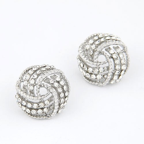 Rhinestones Swerving Ball Earrings