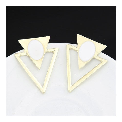 Unique Triangles Earrings - White
