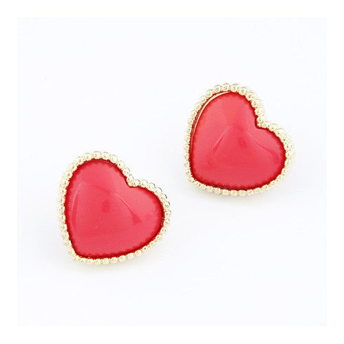 Heart Shape Earrings - Red