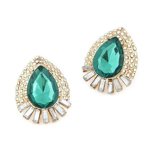 Luxurious Rhinestone Waterdrop Earrings - Green