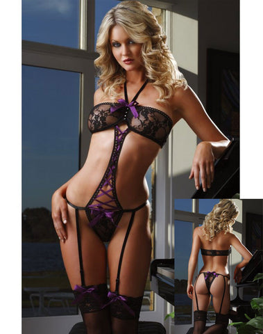 Gorgeous Teddy With Purple Criss Cross and Stockings