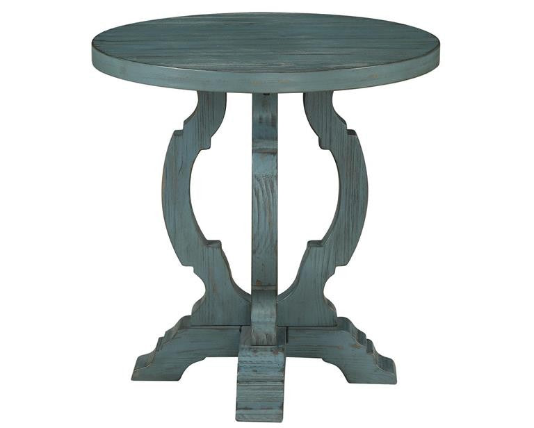 Teal Round End Table