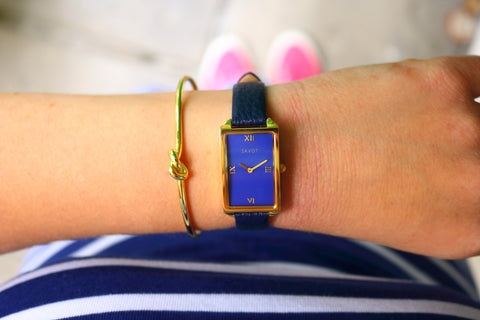 SAVOT Lady Blue & Gold women's watch paired with SAVOT Knot women's sterling silver bracelet