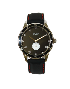 SAVOT Adventurer Black men's steel watch with a black silicone strap