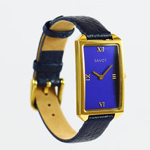 SAVOT Lady Blue & Gold women's small watch with a leather strap