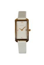 SAVOT Lady Grey & Rose Gold women's small watch with a leather strap