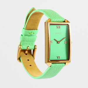 SAVOT Lady Mint Green & Rose Gold women's small watch with a leather strap