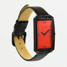 SAVOT Lady Red & Black women's small watch with a leather strap