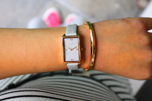 SAVOT Lady Light Grey & Rose Gold ladies' watch paired with SAVOT Steel Cuff women's bracelet