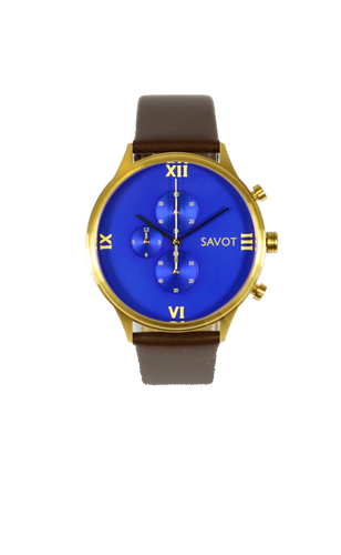 SAVOT Regal Blue & Gold men's chronograph