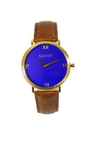 SAVOT Urban Blue & Gold minimalist unisex watch with a leather strap