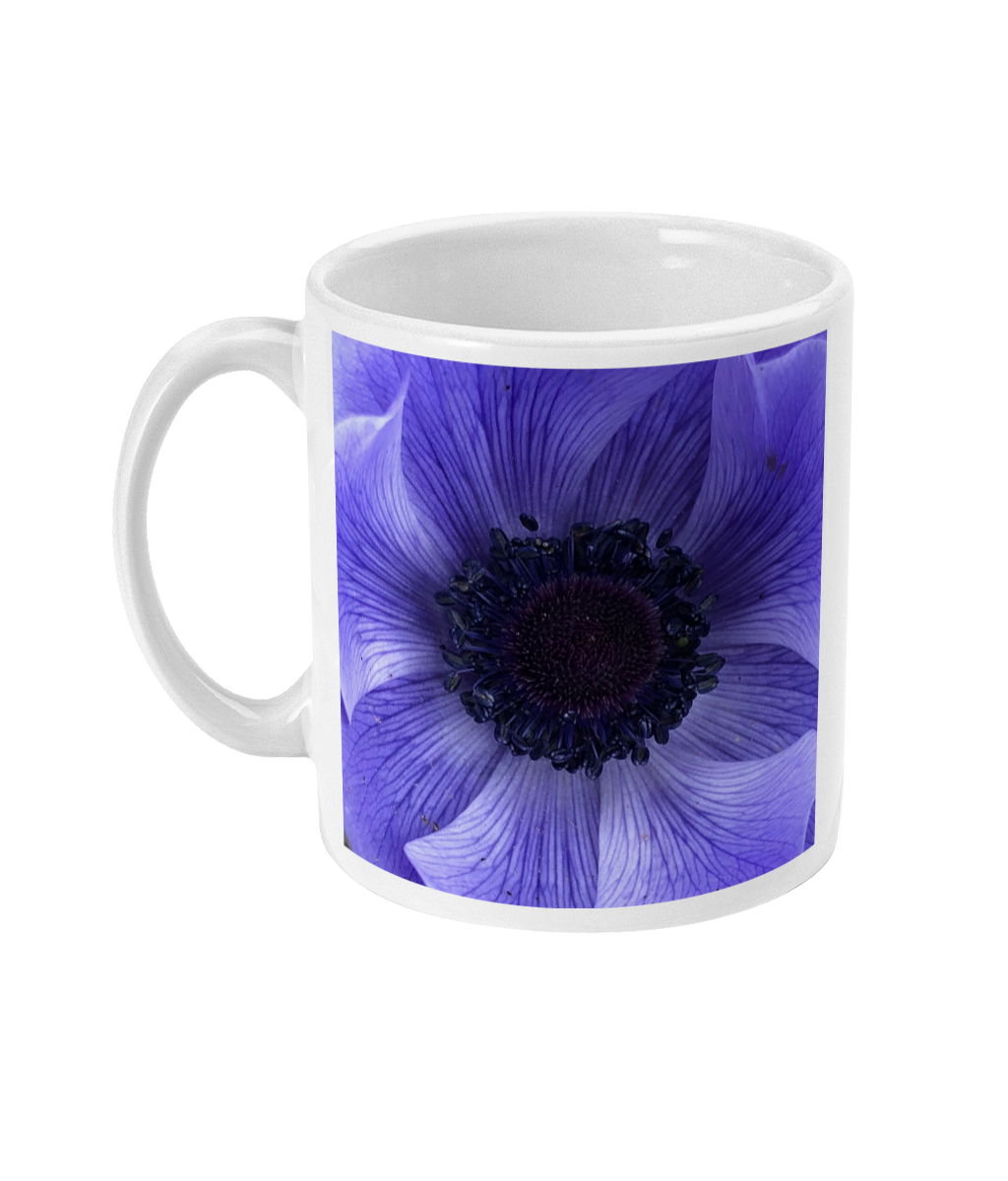 """Catching the blue wave"" Blue Double Flower Mug - Nature of Flowers"