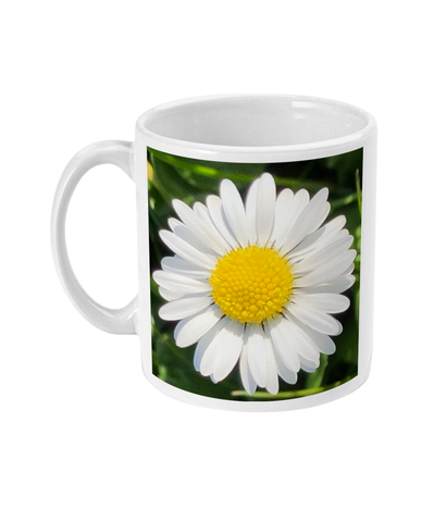 """Completing the almost perfect circle 2"" White Daisy Double Flower Mug - Nature of Flowers"