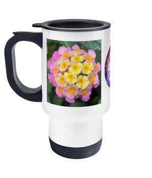 Open image in slideshow, Flower Travel Mug Pink Yellow - Nature of Flowers