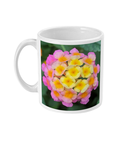"""The Rainbow Effect in Bloom"" Yellow Orange Pink Double Flower Mug - Nature of Flowers"